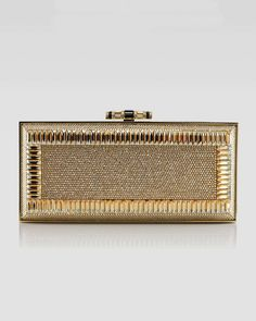 Snake & Crystal Rectangle Clutch Bag, Gold