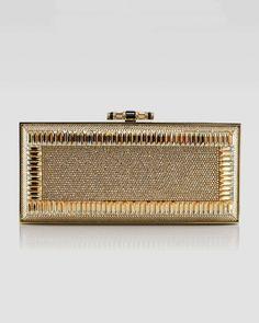 Snake & Crystal Rectangle Clutch Bag, Gold