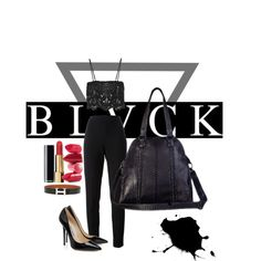 Total Look Black | Cashhimi by cashhimi on Polyvore featuring mode, Miguelina, Moschino and Hermès