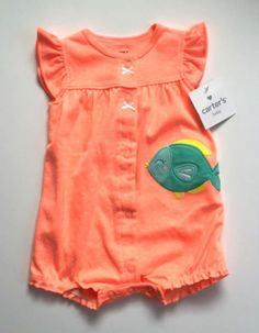 New Carter's Creeper Summer Orange Peach Green Fish Romper Infant Baby Girl 3 mo #Carters