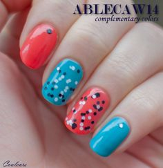 ablecaw14, complementary colors, OPI Hot & Spicy, OPI Can't Find My Czechbook