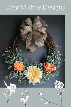 Simple elegance by DeanMichaelDesigns. Wreath for front door. Spring decorating. Summer decorating. Dahlia, peony and eucalyptus with a simple neutral bow. Great gift idea for MOM. Curb appeal. Interior design. Exterior design. #wreath #springwreath #summerwreath Spring Wreaths, Summer Wreath, Flower Centerpieces, Flower Decorations, Summer Decorating, Decorating Ideas, Wreath Making Supplies, Rustic Homes, Group Boards