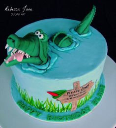 Tick-Tock Croc - Cake by Rebecca Jane Sugar Art Crocodile Cake, Crocodile Costume, Crocodile Party, Beautiful Cakes, Amazing Cakes, Peter Pan Cakes, Alligator Birthday, Cuisines Diy, 3rd Birthday Cakes