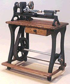 Antique Miniature Pedal Lathe - Miniature Antique Pedal Tools