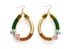 Emerald Gold Rope Earrings Boho Chic Rope by KiaFilStudios on Etsy