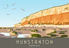 Travel/Railway style picture of Hunstanton Cliffs with Lighthouse in the background Posters Uk, Railway Posters, Poster Prints, Art Prints, Norfolk Coast, Vintage Travel Posters, Poster Vintage, Rock Pools, Best Rock