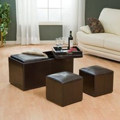 Leather coffee table ottoman with nesting ottomans and serving trays - $99.00. I WANT THIS!!!!