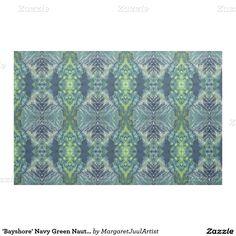 'Bayshore' Navy Green Nautical Coastal Fabric Juul