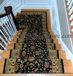 Stair Runner Installed with a custom fabricated landing creating a continuous installation on the staircase. All installations and fabrication work by John Hunyadi, The Stair Runner Store Oxford, CT  www.StairRunnerStore.com