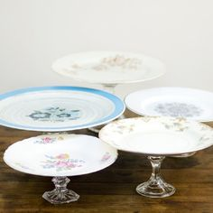 assorted pie pedestals: Variety of pie pedestals in varying patterns.