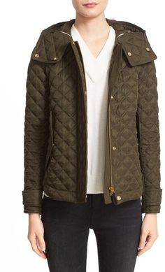 Burberry Brit 'Leightonbury' Quilted Hooded Jacket