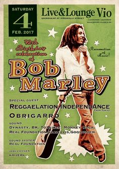 https://flic.kr/p/Qw3JEV | Real Foundation presents 『 Bob Marley's 72th Birthday Celebration』 | 2/4(土) at Live & Lounge Vio / Start:22:00 - Close:5:00 前売り:3,000円(別途1D) / 当日:3,800円(別途1D) ■Special Live: Reggaelation Independance(fr Tokyo)  ■Special Guest Sound: OBRIGARRD  ■Sound: DYNASTY / B.K./ TOTALIZE / MONKEY ROCK / CAZUNABIS / GOQUIGUEN SOUND  ■Sound & Sound System: REAL FOUNDATION MOVEMENT  ■Jerk chicken: Kai jerk
