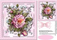 Beautiful pink roses and pearl blossom  on Craftsuprint - Add To Basket!