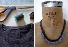 Récupérez l'encolure d'un t-shirt pour un collier récup « Blog de Petit Citron
