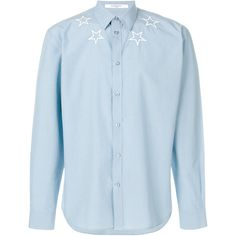 Givenchy star embroidered shirt ($510) ❤ liked on Polyvore featuring men's fashion, men's clothing, men's shirts, men's casual shirts, blue, mens long sleeve cotton shirts, mens casual long sleeve shirts, mens long sleeve collared shirts, mens extra long sleeve shirts and mens urban shirts