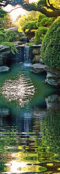 Japanese garden waterfall reflection