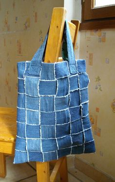 Bag of recycled jeans from Avec 10 doigts. Would also look great as cushions for balcony chairs.