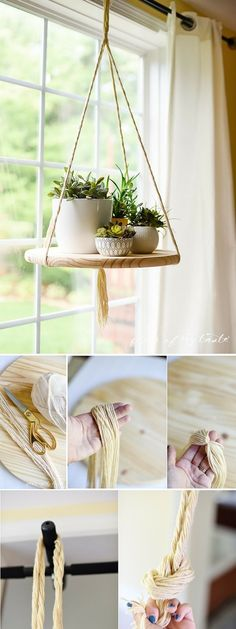 5 Outstanding Clever Ideas: Floating Shelf With Pictures Frames floating shelves with rope easy diy.Floating Shelf Hallway Storage floating shelves with rope easy diy. Diy Hanging Shelves, Floating Shelves Diy, Wall Shelves, Bathroom Shelves, Floating Plants, Window Shelves, Book Shelves, Window Shelf For Plants, Kitchen Shelves