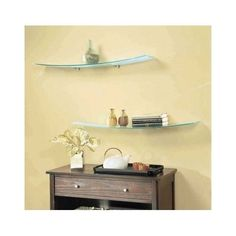 Wall Mount Shelf Clear Glass Concave Kit Display Floating Ledge Storage Decor