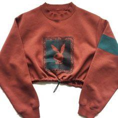 Reworked Playboy Crop Sweatshirt