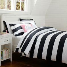 Black and White Cottage Stripe Duvet Cover