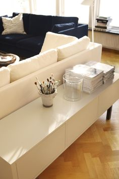 Easily hide away cables by leading them between shelves and through cable outlets on the underside of the bench. The STOCKHOLM collection, 2013.