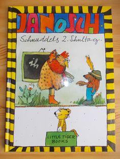 Bilderbuch von Janosch, nicht nur für Schulkinder. Witziger Text, lustige Bilder. Sehr gut erhalten mit minimalen Gebrauchsspuren ( Klebereste des Preisschildes auf Rückseite). Little Tiger Verlag...