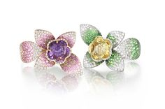 Pasquale Bruni's new Giardini Segredi pieces, which includes these rings, made in 18-karat pink gold with a 5.04-carat amethyst, sapphires and diamonds, and 18-karat white gold with a 5.29-carat yellow beryl, sapphires and diamonds.