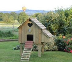 The Maggie's Six Chicken House with longer legs. A fox-proof Chicken Coop for 6 hens. External nest box, robust, UK made chicken coop, designed and built by Flyte so Fancy in Dorset, Duck House, Hen House, Custom Woodworking, Woodworking Projects Plans, Chicken Roost, Poultry Supplies, Nesting Boxes, Chickens Backyard, Coops