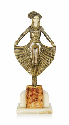 'EGYPTIAN DANCER', A G. GORI COLD-PAINTED BRONZE AND IVORY FIGURE -  CIRCA 1930