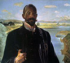 Self-portrait, Vistula river behind - Jacek Malczewski