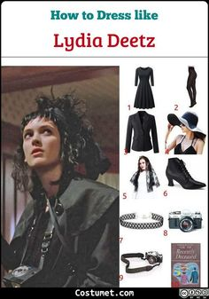 Lydia Deetz (Beetlejuice) Costume for Cosplay & Halloween 2020 : Dress like Lydia Deetz (Beetlejuice) Costume for Halloween 2019 Lydia Deetz costume is mainly lots of black dresses, black tights, black lace accessories, and extremely large black sun hats. Beetlejuice Halloween Costume, Halloween Juice, Halloween Kostüm, Halloween Costumes, Movie Character Costumes, Horror Movie Characters, Disney Inspired Fashion, Disney Fashion, Broadway Costumes