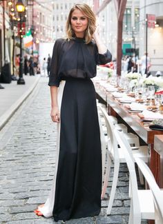 Maxi skirt with sheer blouse//