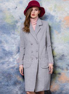 Jacken & Mäntel - $83.46 - Wolle & Wollmischung Grau Orange Lang Lange…