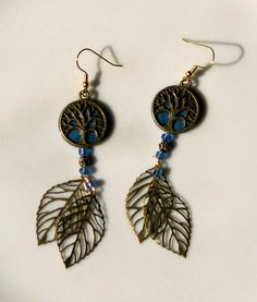 Brass Tree of Life Earrings w/ Dangly Leaves by PumpkinandParsnip, $14.00