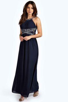 Beauty Embellished chiffon maxi dress with lace details navy 4ufashion.eu