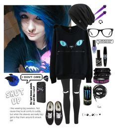 """""""im feeling very emo"""" by emokittyyy ❤ liked on Polyvore featuring Topshop, WithChic, Valentino, Vans, Urbanears, Muse and Marmot"""