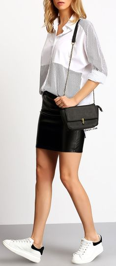 Minimal look with Colour-block Lapel Striped Loose Blouse & leather skirt.
