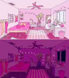 I love the day and night transition Pink Aesthetic, Aesthetic Anime, Aesthetic Bedroom, Bedroom Art, Bedroom Drawing, Isometric Art, My New Room, Aesthetic Wallpapers, Cute Art