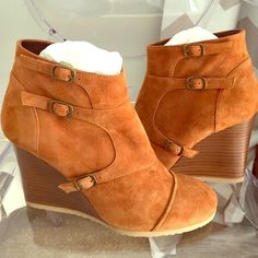 J.Crew Greer suede wedge bootie. EEUC. Worn 1x Gorgeous soft suede bootie!! Worn 1x but I just can't wear heels! 3 3/4 in wedge heel. Beautiful cognac suede! Amazing condition! J. Crew Shoes Ankle Boots & Booties