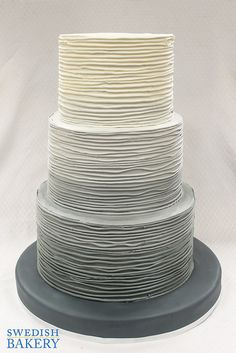 Grey Ombre Textured Branch Wedding Cake   by Swedish Bakery Chicago