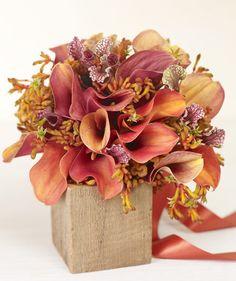 Bouquet of orange calla lilies