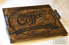 Coffee Table Tray - Wooden Serving Tray - Customize With Your Name or Business Name