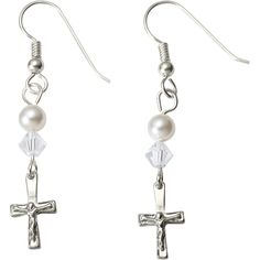 Simple and elegant Catholic jewelry for any occassion. Pearl Crucifix Earrings.