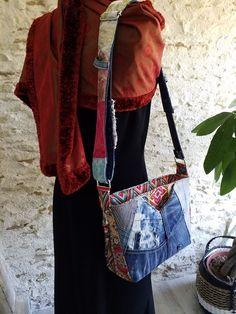 Sac Mambo en jean et imprimé coloré cousu par Nadege - Patron Sacôtin