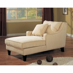 Chaise Lounger in Cream Microfiber - Coaster - Chair, Accent Chair, Chaise Lounge