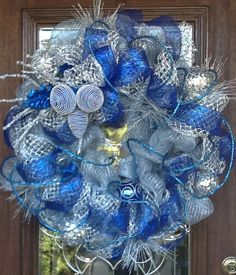 Deco Mesh BLUE and SILVER CHRISTMAS Wreath.