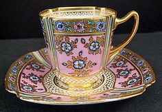 Copeland tea cup - pink, gold patterned