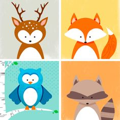 DIY Des imprimables pour décorer la chambre des enfants. (Set of four animal prints) (http://www.lowes.com/creative-ideas/kids-and-baby/kids-room-animal-art-prints/project)