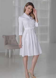 Treat in Style Stylish Scrubs, Beauty Uniforms, White Lab Coat, Dress Skirt, Dress Up, Scrubs Outfit, Lab Coats, Nursing Dress, Ms Gs